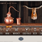 Haywire's Whiskey Lounge Home Screen screen shot with 6 categories lined up a the bottom including spirits, beer, wine, whiskey, cocktails, and cigars with a background image of an all copper whiskey distillery on a brick bar with a wooden countertop and a steer head hanging on an all wooden back wall