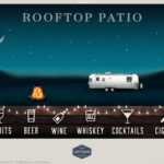 Haywire's Rooftop Patio Home Screen screen shot with 6 categories lined up a the bottom including spirits, beer, wine, whiskey, cocktails, and cigars with a background image of an all silver metal camper and an actual moving at night with the stars and moon