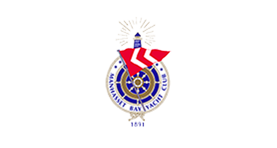 Manhasset Bay Yacht Club Logo with old school wooded boat steering wheel with a white ring around it with a blue lighthouse on top and a red and white triangular flag in front of it all and the text Manhasset Bay Yacht Club within the white circle around the wheel.